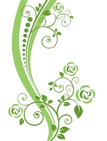 stylized: Stylized pattern with flowers on a white background.