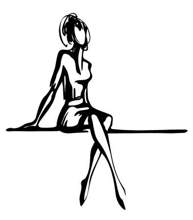 Stylized woman silhouette  isolated on a white background. Illustration
