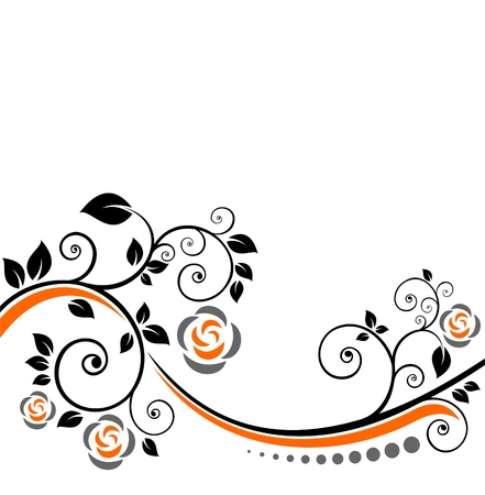Stylized flowers and curves on a white background. Stock Vector - 6957004