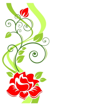 Stylized roses and strips pattern on a white background. Stock Vector - 6957009