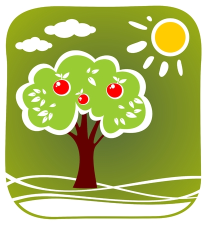 Stylized apple tree and sun on a  green background. Vector
