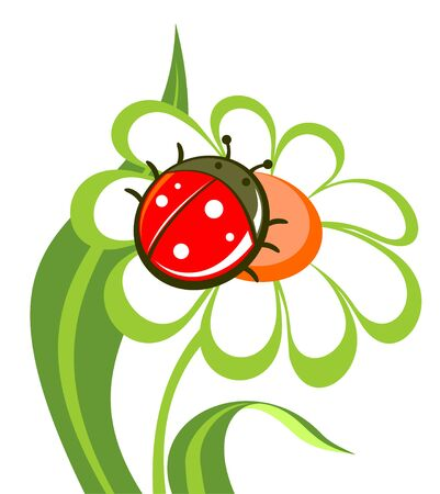 Cartoon flower with ladybird isolated on a white background. Illustration