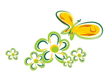 tekening vlinder: Gestileerde vlinder en bloemen geïsoleerd op een witte achtergrond.