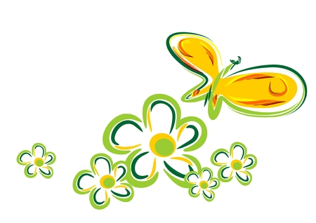 nature picture: Stylized  butterfly and  flowers isolated on a white background. Illustration