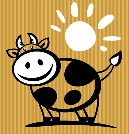 Cartoon cow and sun isolated on a striped background.
