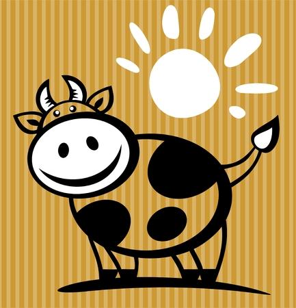 vaca caricatura: Vaca de dibujos animados y sol aislado en un fondo de rayas.