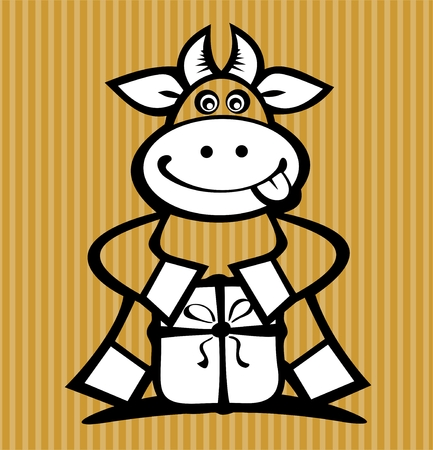 Cartoon cow with gift isolated on a striped background. Stock Vector - 7047442
