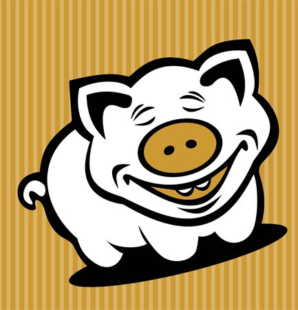 Cartoon pig isolated on a striped background. Vector