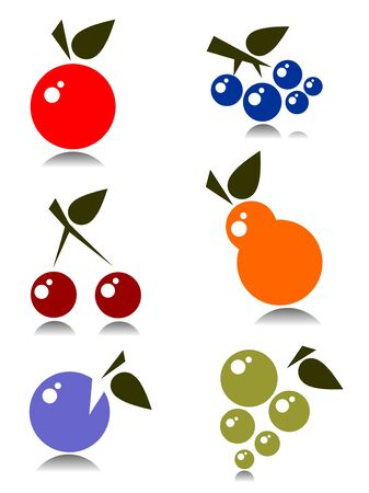Stylized fruits set  isolated on a white background. Vector
