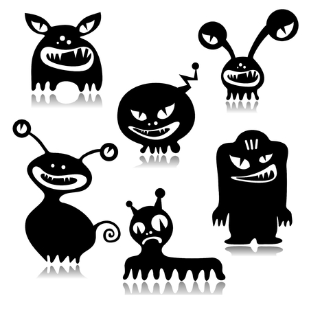 frighten: Stylized Halloween monsters set isolated on a white background.