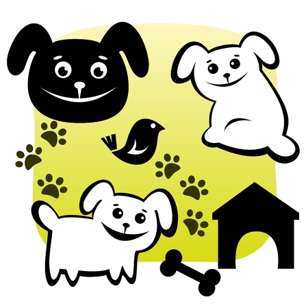 Stylized dogs set with meal on a green background. Vector