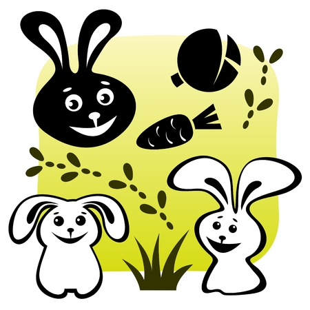 Stylized rabbits set with meal on a green background. Vector