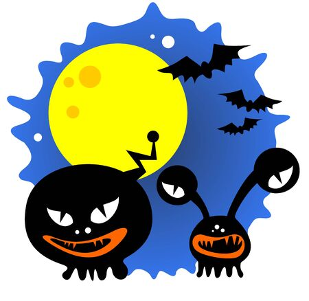Two Halloween monsters and moon on a blue background. Stock Vector - 7676425