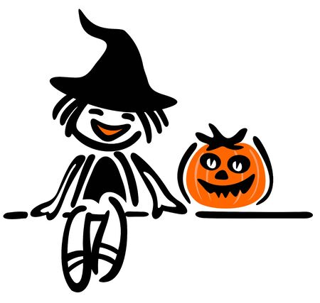 Happy girl with pumpkin on a white background. Halloween illustration. Vector