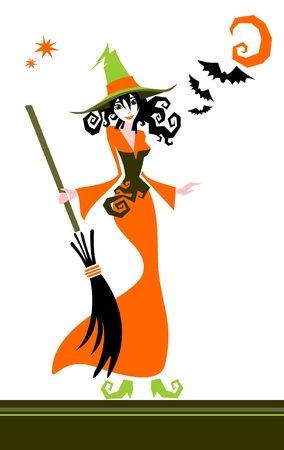 conceptual image: Pretty witch and bats on a white background. Halloween illustration.