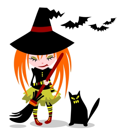 Young witch and cat on a white background. Halloween illustration. Vector