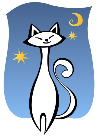 Stylized white cat and moon on a blue background. Vector