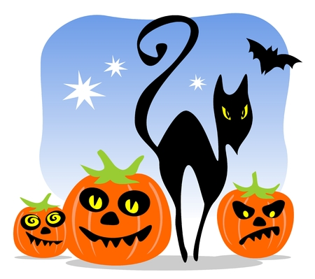 autumn cat: Halloween black cat with pumpkins  on a blue background.