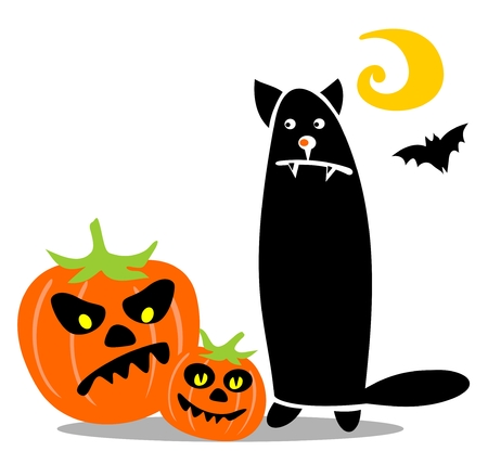Halloween black cat with pumpkins isolated on a white background. Stock Vector - 8014880