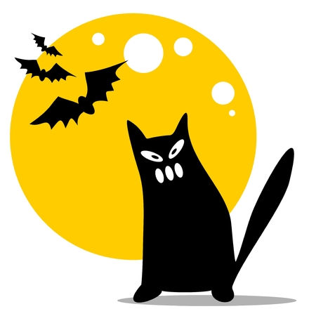 Halloween black cat and moon on a white background. Stock Vector - 8014878