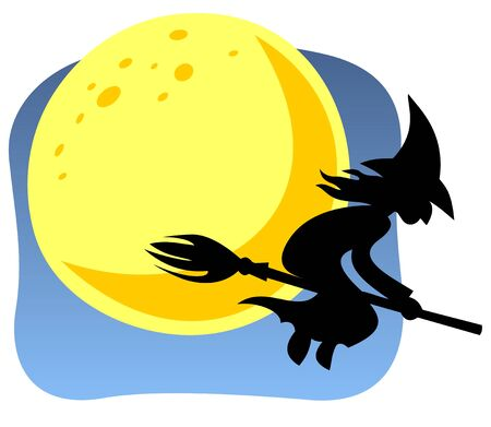 Halloween flying witch and moon on a blue background. Vector
