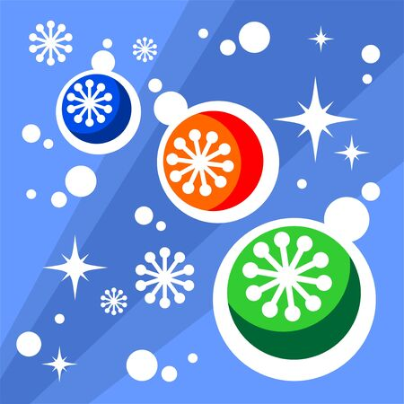 Christmas balls and snowflakes on a blue background. Vector