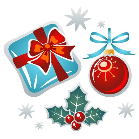 Christmas symbols set isolated on a white background. Vector