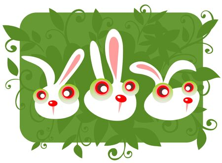 Three cartoon rabbits and grass on a green background. Vector