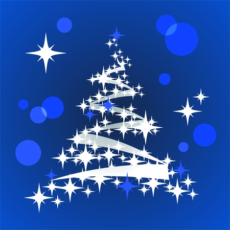 Stylized Christmas tree with stars on a blue background. Stock Vector - 8549021