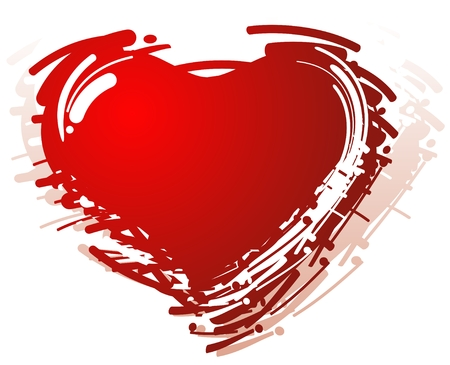 Stylized red grunge heart isolated on a white background.
