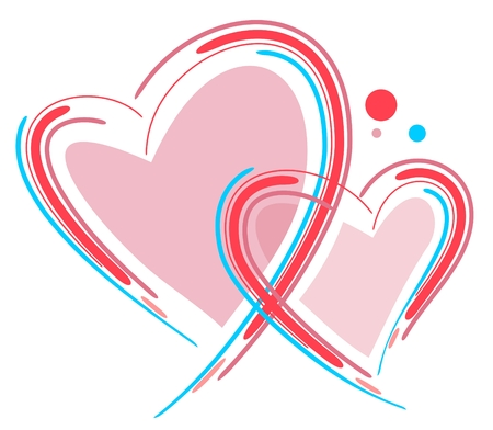 Two stylized Valentines hearts isolated on a white background.