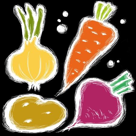 Stylized vegetables set isolated on a black background. photo