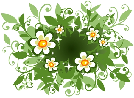 Stylized  pattern with  flowers and leaves on a white background. Vector