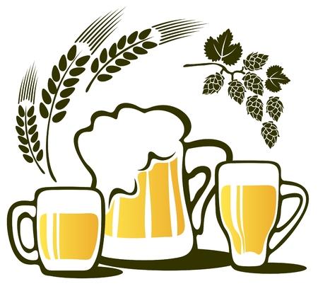 ビール ジョッキと小麦の耳、白い背景で隔離されました。  イラスト・ベクター素材