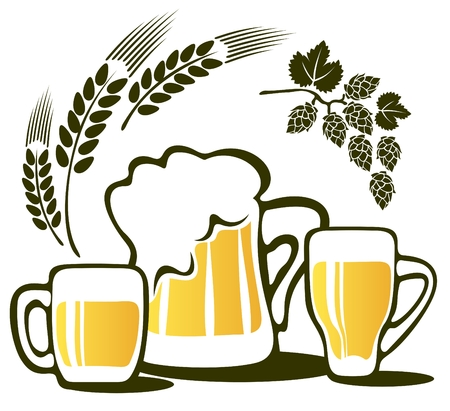 Beer mugs and wheat ear isolated on a white background. Illustration