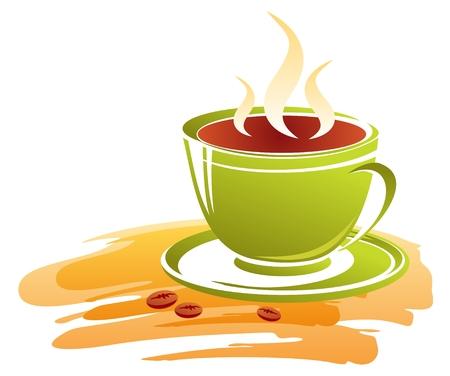様式化された緑のコーヒー カップと白い背景の上のコーヒー豆。