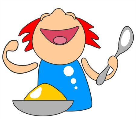 Cartoon happy child with porridge isolated on a white background.