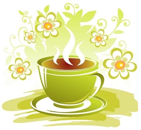 様式化された紅茶のカップと白い背景の上の花です。