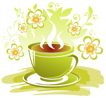 Stylized tea cup and flowers on a white background.