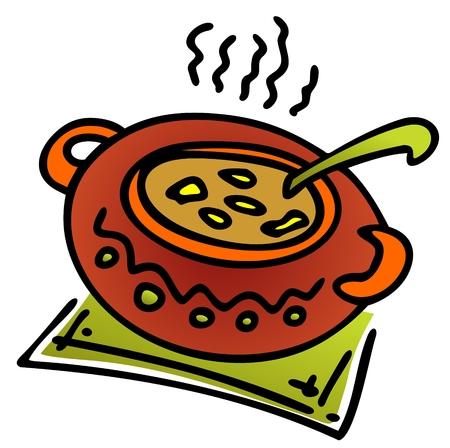 olla barro: Vasija de barro estilizada con comida aislado en un fondo blanco.