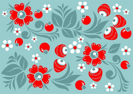 cranberries: Stylized pattern with flowers and berries on a green background. Illustration