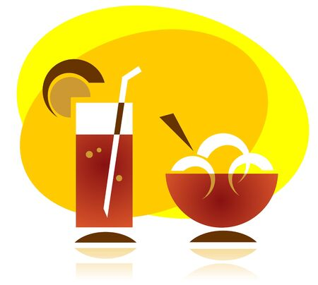 frozen drink: Stylized cocktail and ice cream silhouettes on a yellow background.