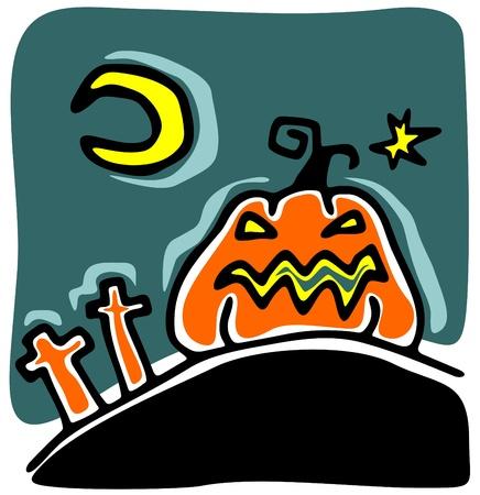 attribute: Cartoon pumpkin on a dark background. Halloween illustration.