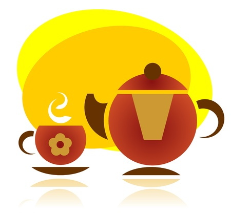 yellow tea pot: Stylized tea cup and tea pot silhouettes on a yellow background.