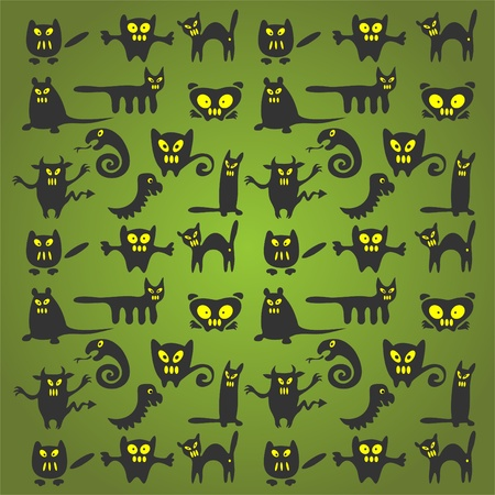 Stylized Halloween monsters on a green background.