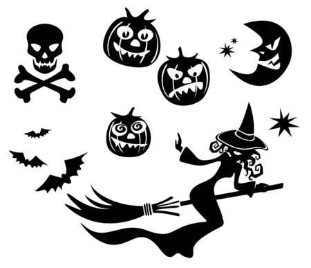hag: Halloween symbols set isolated on a white background.