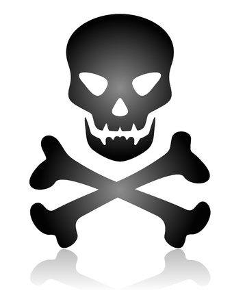 skull and bones: Stylized skull and bones silhouette isolated on a white background.