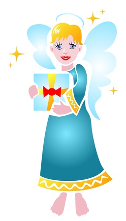 Stylized Christmas angel with gift on a white background. Vector