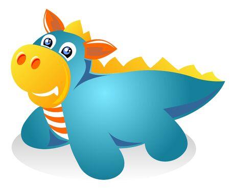 amuse: Stylized blue dragon isolated on a white background. Illustration
