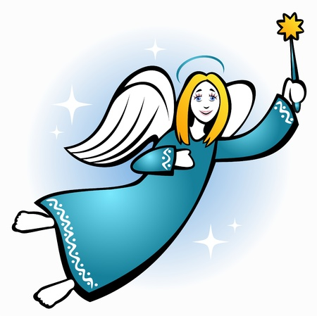 Stylized flying Christmas angel with star on a blue background. Vector